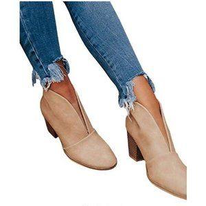 Womens Peep High Heel Khaki Pumps Slit Booties